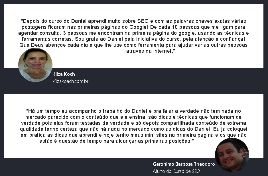 depoimentos mini sites